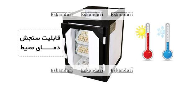 قابلیت سنجش دمای محیط دستگاه جوجه کشی 126 تایی