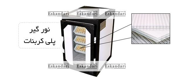 درب نور گیر پلی کربنات دستگاه جوجه کشی 168 تایی