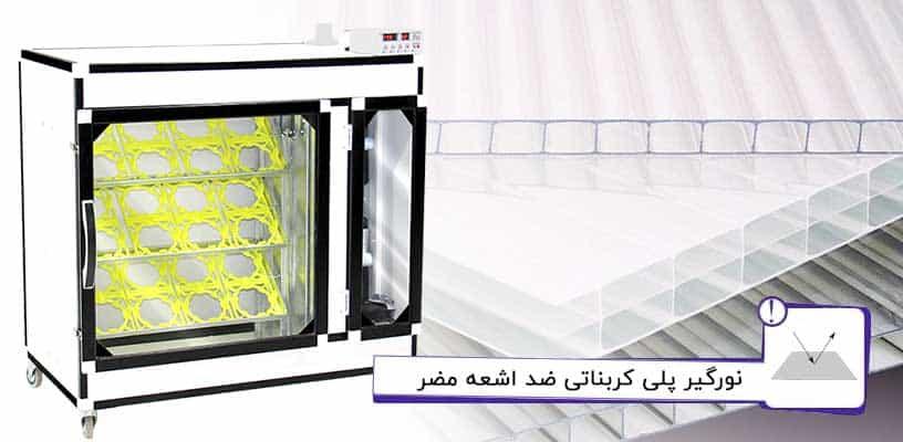 نورگیر پلی کربنات ضد اشعه در دستگاه جوجه کشی شترمرغ اسکندری
